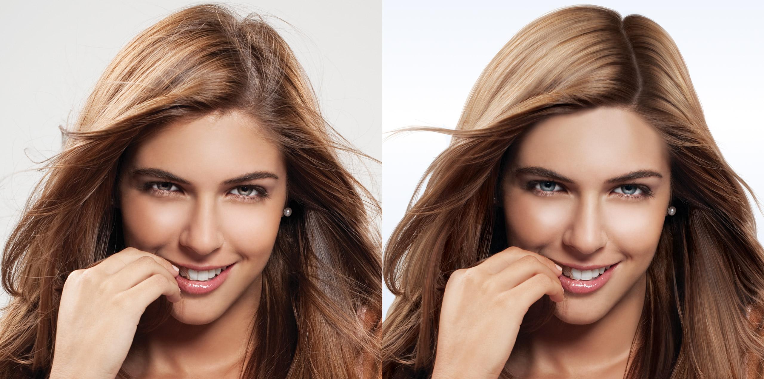 Beauty retouching hair